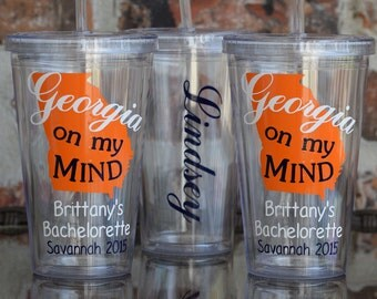 Georgia on My Mind State Bachelorette Party Tumbler 16 ounce