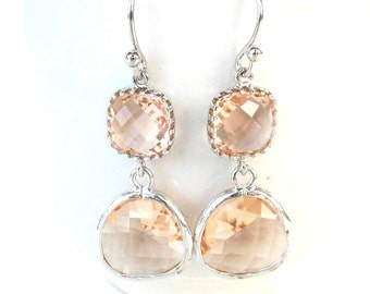 Champagne Earrings Silver and Peach Earrings Two Tiered Glass Earrings Blush Bridesmaids Earrings Peach Silver Earrings Blush Earrings