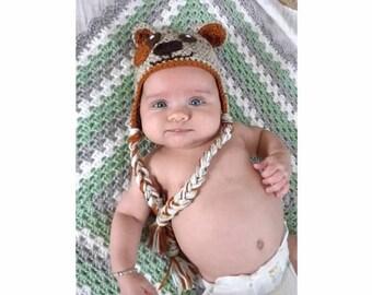 Crochet Puppy Hat - handmade - crochet hat - baby hat - baby shower gift - puppy hat - kids crochet - crochet hat- newborn photo prop