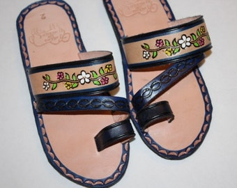 Flowers Blue Leather Mexican Shoes-Flip Flops-Sandals-Hippie-BOHO- Tribal- Shoes- Summer- Handmade