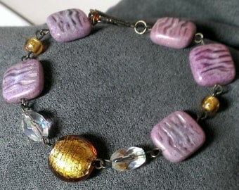 Lavender and gold bracelet