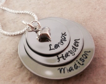 SALE!! Hand Stamped Jewelry Personalized Mother's necklace with children names birthstones grandma neckalce mothers day mother in law nana