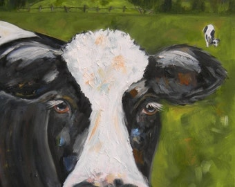 Cow in pasture original Oil Painting on canvas, Whimsical Cow Landscape art, Cow original by Marla