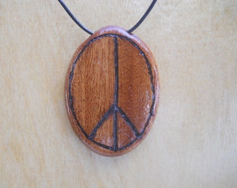 Wooden Peace Sign Pendant Necklace