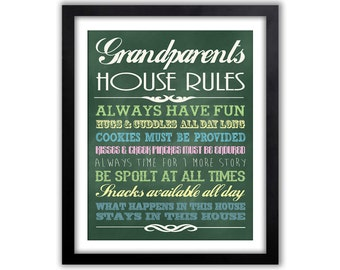 Grandparents Day - Gifts For Grandparents - Gifts From Grandkids - Chalkboard Wall Sign -  Gift For Grandma  - Grandparents Rules Sign