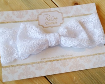 White Lace Bow - Stretch Lace Bow Headband - White Lace Headwrap - White Bow