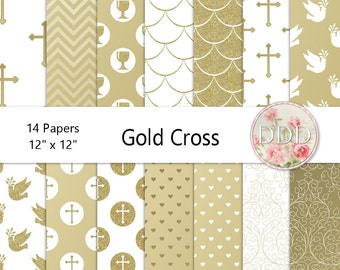 Gold Cross Digital Paper Pack | Christening | Wedding | Baptism | Communion | Confirmation | Gold | White | Instant Download