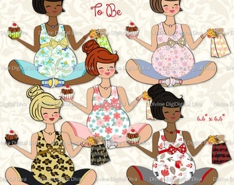 Mommy To Be w/ Shopping Bag of Toys & Pastry in Hand | Expecting | Pregnant | Transparent Clipart  Instant Download PNG