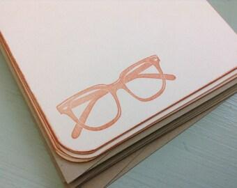 vintage inspired flat note cards and envelopes, stationery set, retro eyeglasses, a2, set of 10.