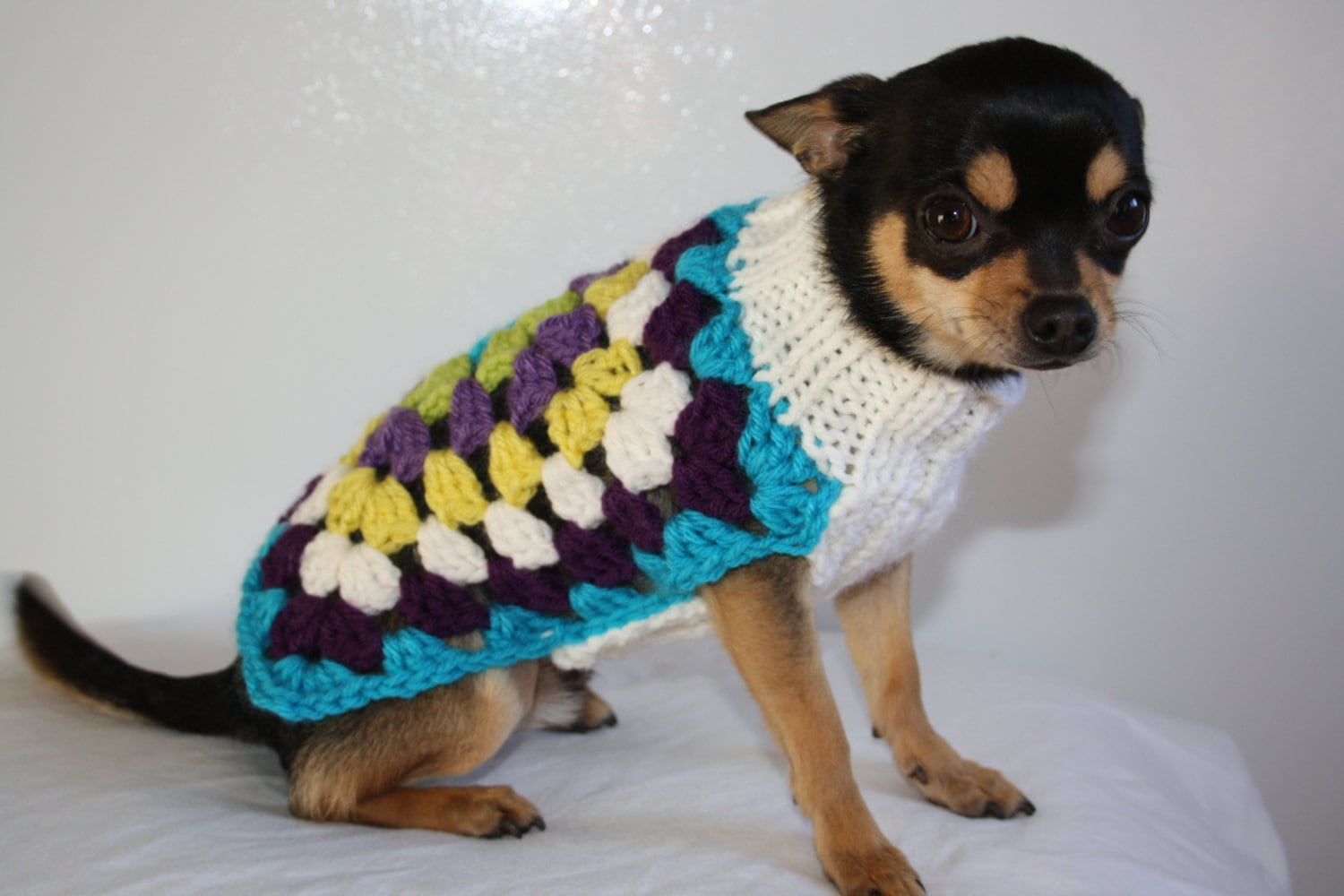 Tiny Dog Sweater Knitting Pattern : Small Dog Sweater For Mini Dog Pet Chihuahua Yorkie by PetzCouture