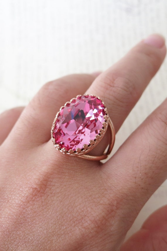 Rose Gold Swarovski Crystal Cocktail Ring - Rose Pink Oval Crystal Rose Gold Adjustable Ring, simple, sparkly, chic, elegant, fashion