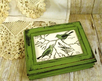 Rustic Primitive Green Wooden Box With Vintage Bird Illustrations