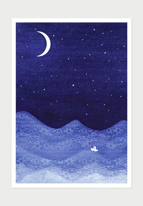 Blue Print Wall Decor : Print sailboat royal blue watercolor wall decor moon stars