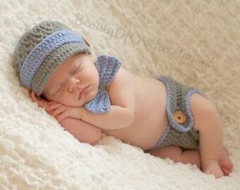 Newborn Baby boy crochet outfit, newborn boy clothes,  boy  photo prop. newborn baby boy matching  hat bow Diaper cover. Newborn photography