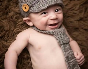 Baby boy outfit photo prop. newborn boy outfit  baby boy clothes  hat necktie Diaper cover. Crochet boy's outfit