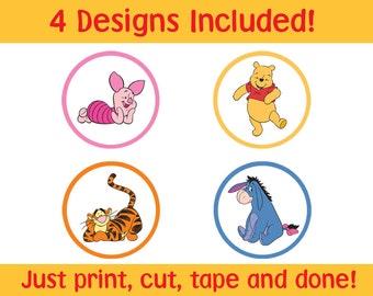 4 Printable Digital Winnie the Pooh Cupcake Toppers INSTANT DOWNLOAD Digital File