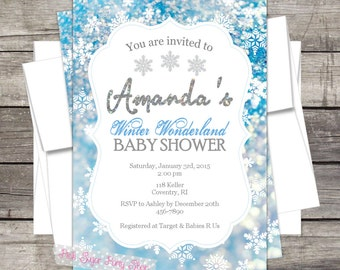 Winter Wonderland Baby Shower Invitation Customized for your Event