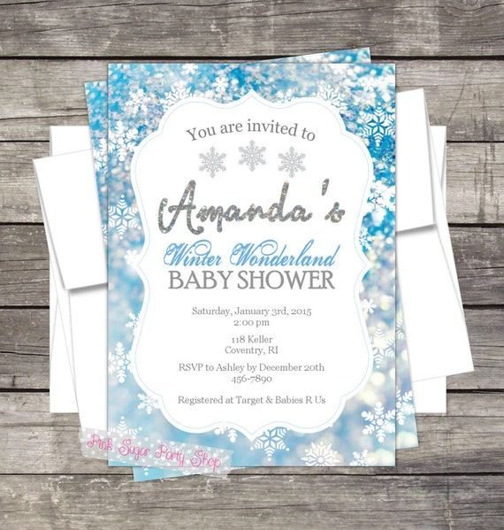 Winter Wonderland Baby Shower Invitation Customized For Your Event By Pink Sugar Party Shop