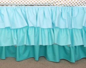 Aqua Gradient Ombre Ruffle Crib Cot Skirt; Light Aqua, Aqua, Teal Bed Skirt Ruffle