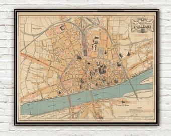 Old Map of Orleans 1912 France