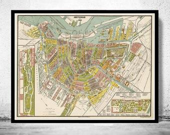 Old Vintage Map of Amsterdam, Netherlands 1882 Antique Vintage Map
