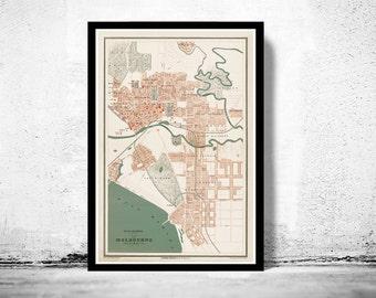 Vintage Map of Melbourne City , Australia Oceania 1877