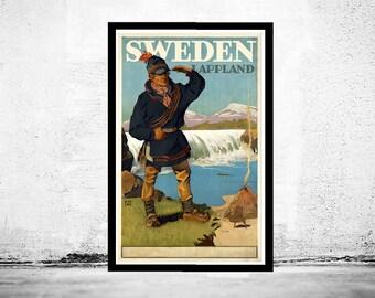 Vintage Poster of Sweden Lapland Tourism poster travel
