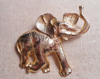 Trunk Up Elephant Brooch GOOD FORTUNE Gold Tone