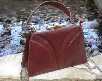 3PCS French vintage mode collection art deco brown leather bag lady  handbag gold tone heavy metal frame snake leather shouder bag lizard