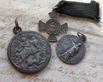 French antique 19th century religious medals St Georges , St benois cross reliquary St pierre de Montfort dragon horse