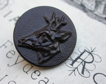 one  deer large French vintage silver tone metal button hunt hunting button wild animal   hunting dog metal 1900s art nouveau buttons