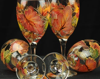 Set of  Four Hand Painted Wine Glasses / Colorful Fall Leaves
