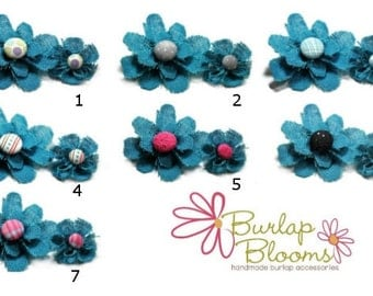 Teal Flower Hair Clip, Teal Hair Clip, Teal Flower Pin - Women Accessories