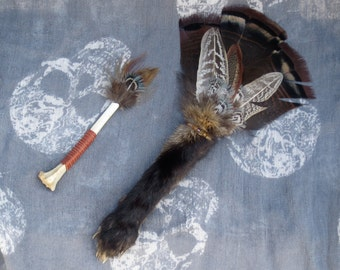 Fox Paw Taxidermy, Magic Wand, Feather Fan, Altar Decor, Victorian Curiosity, Oddity