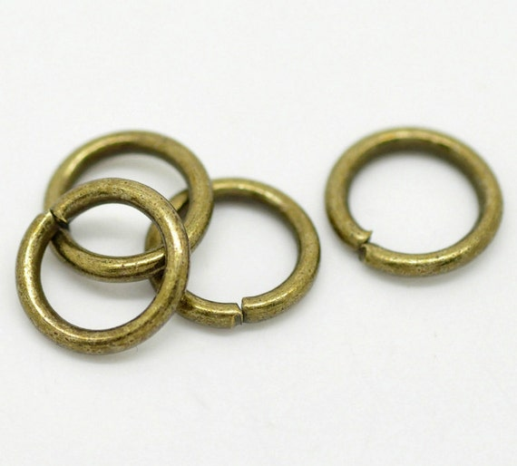 100 antique bronze open jump rings 10mm 3 8 x1 5mm