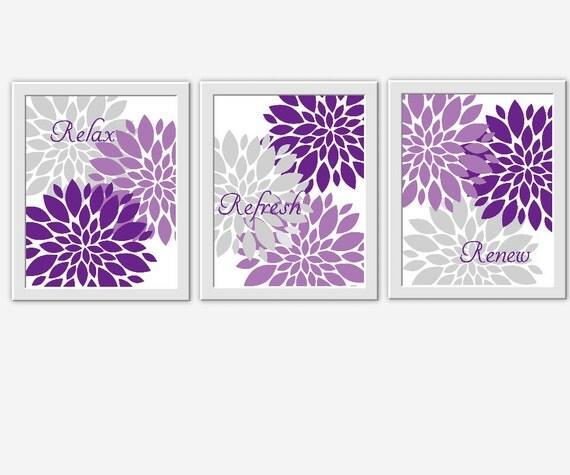 Purple Wall Decor For Bathroom : Bath wall art lavender purple gray spa flower burst