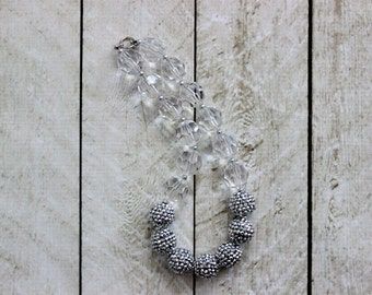 Cinderella chunky bubblegum necklace for girls. Silver and clear faux diamond necklace for little girl. White birthday necklace. Christmas