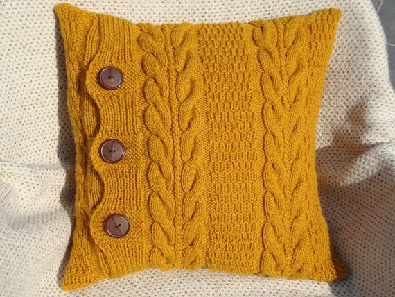 mustard knit pillow throw pillows yellow knit cushion couch. Black Bedroom Furniture Sets. Home Design Ideas