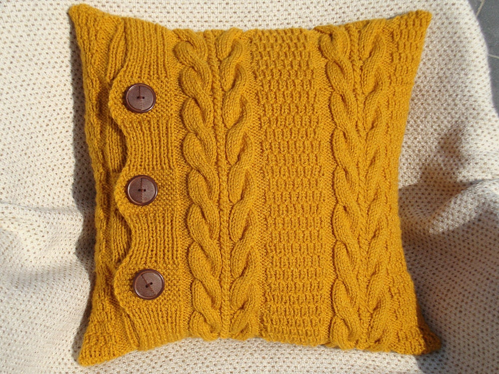 Knitting Pillows : Mustard knit pillow throw pillows couch by olgaartshop