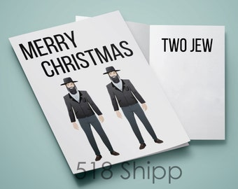 Merry Christmas Two Jew Card - Holiday Santa