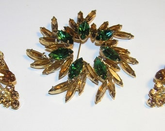 SALE!  40% Off   Fabulous JULIANA Topaz and Green Brooch and Earrings