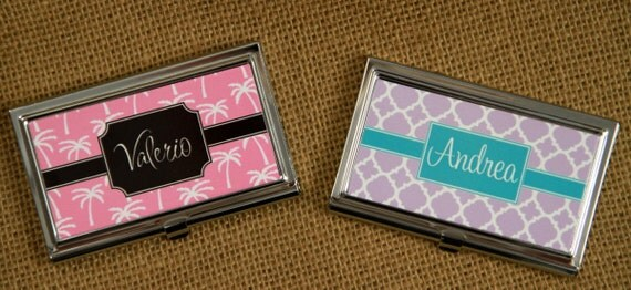 Custom Business Card Case Personalized Monogrammed Personalized Gift Gift Ideas Friends & Coworkers Desk Accessories Logo Corporate Gift