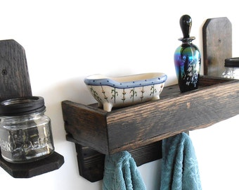 Handcrafted Primitive / Rustic Pallet Wood Wall Shelf and Sconce Set