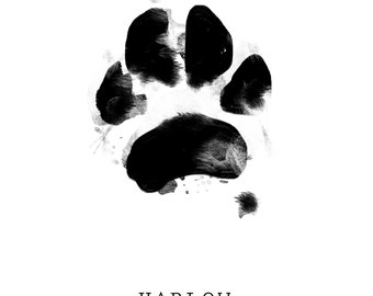 CUSTOM Pet Paw Print, Cat, Dog, Animal art, Digital file, *personalized your pet print, paw+print