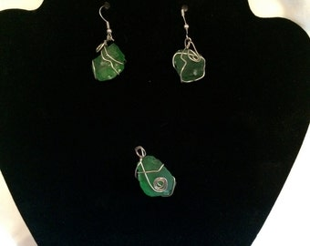 Free-form Wire Wrapped Beach Glass