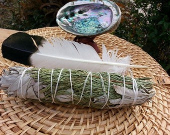 Large White Sage and Cedar Smudging Kit ~ White Sage and Cedar Bundle 7~9 inches, 5~6 inches abalone shell and stand, feather