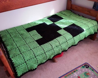 Crocheted Green and Black Creeper Face Minecraft-Inspired Twin-Size Granny Square Afghan - Taking Orders