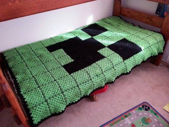 Crocheted Green And Black Creeper Face Minecraft Inspired
