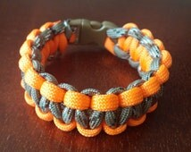FREE SHIPPING!!! Orange and Olive Camo HUNTING Paracord Bracelet Under 8 Inches