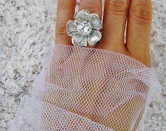 Wedding silver jewelry set - Wedding silver ring - Wedding silver earring - Apple flowers ring - Apple flowers earring - zircon ring